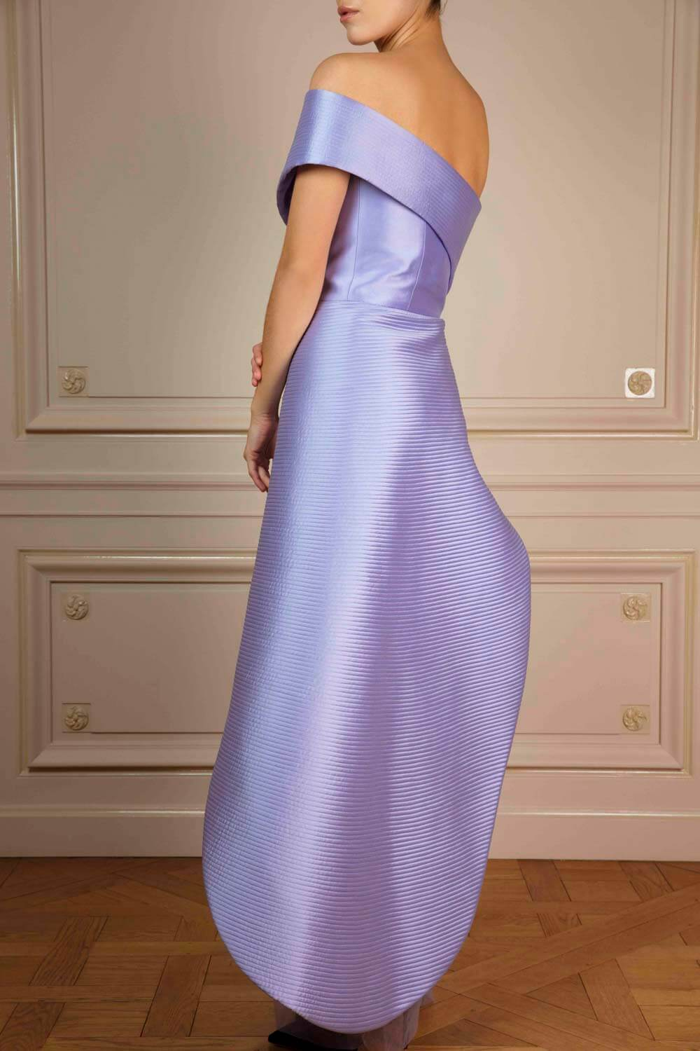 Asymmetric wrap dress in lilac quilted satin with tulle skirt overlay