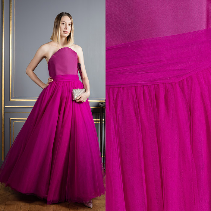 Full-skirt fuchsia colored gown