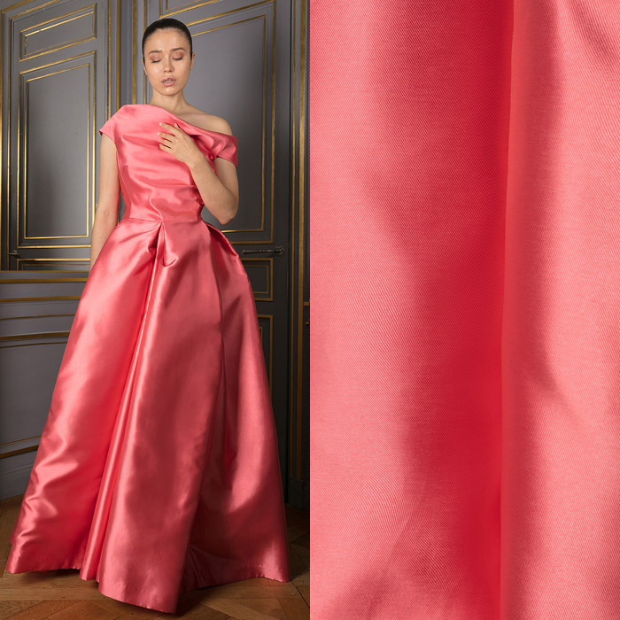 Strapless floor-length coral dress
