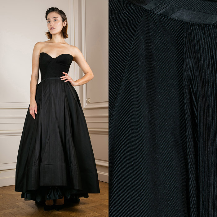Exclusive floor-length skirt with an uneven hemline