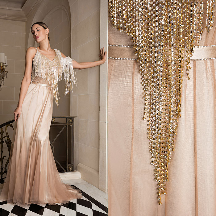 Exclusive powder pink gown with an embroidered top