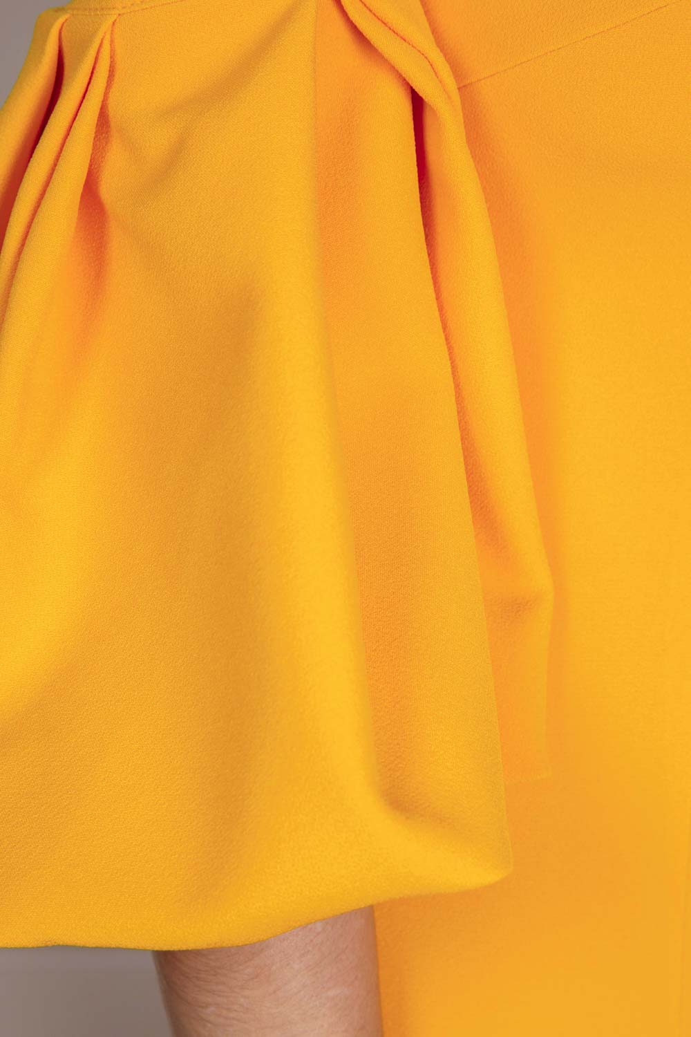Floor-length gown in Marigold Yellow stretch crepe