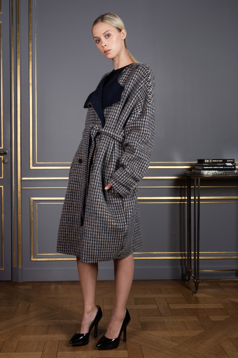 Checkered wrap coat