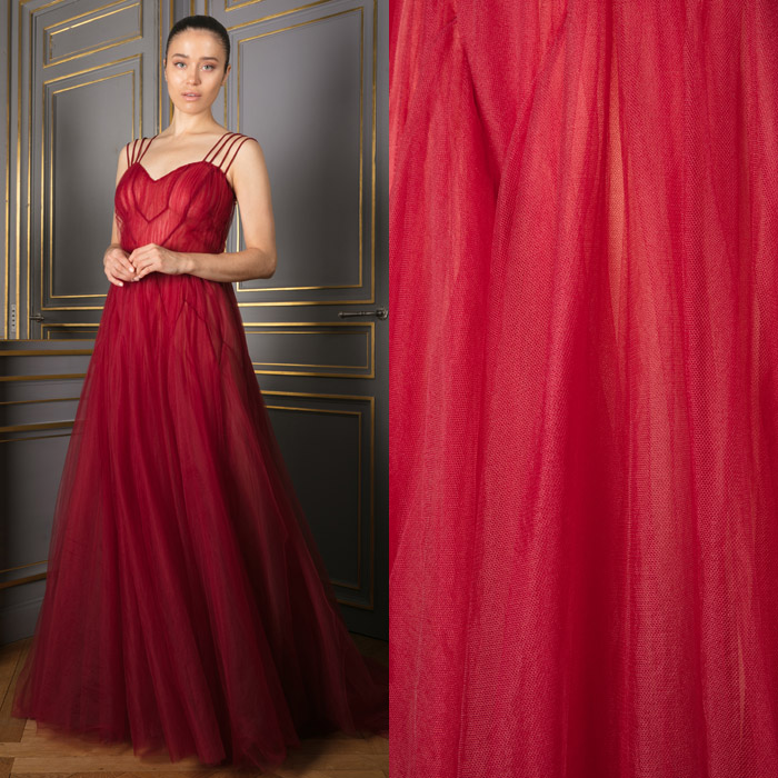 Cherry gown in layered tulle with sweetheart neckline