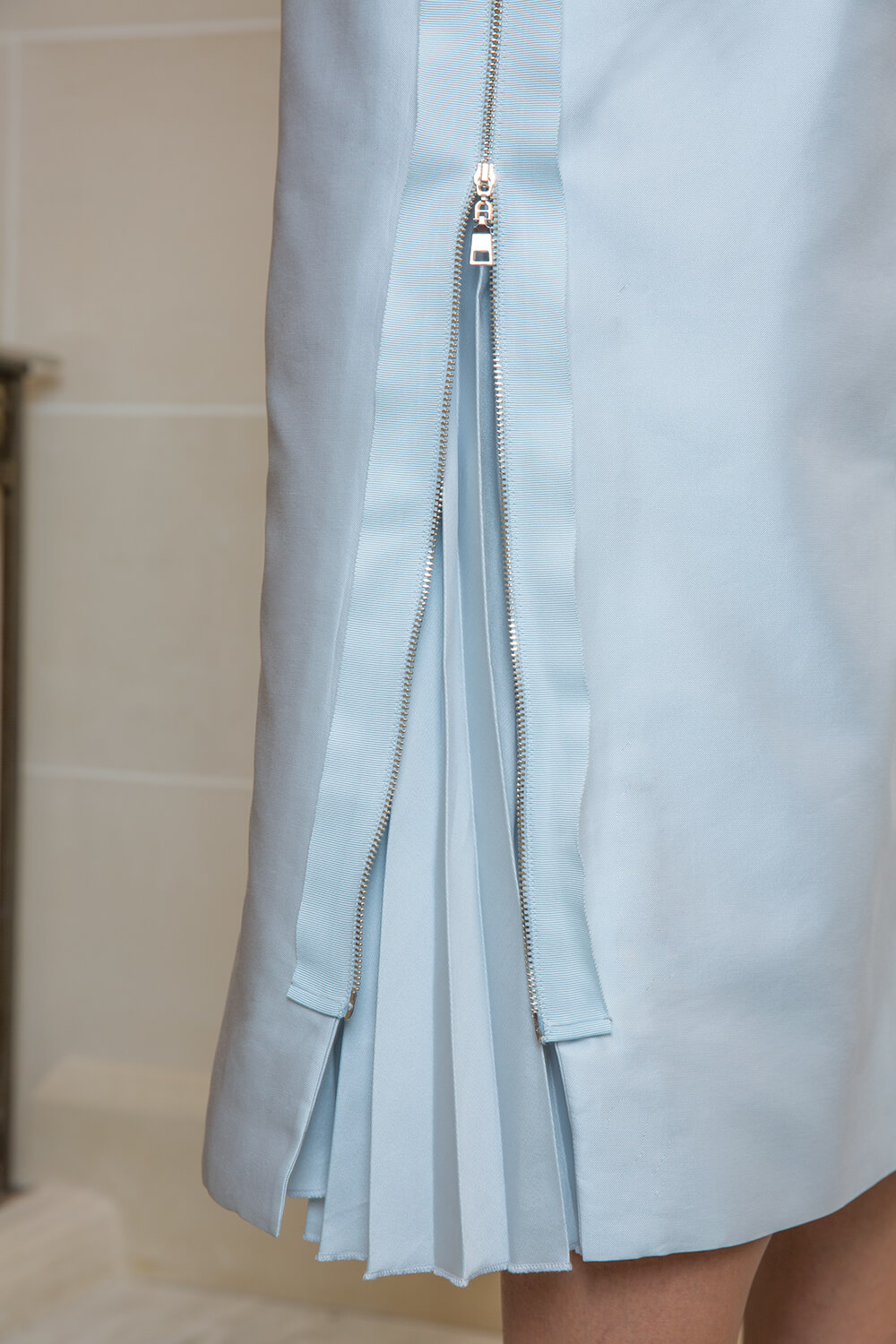 Pale blue embroidered midi dress
