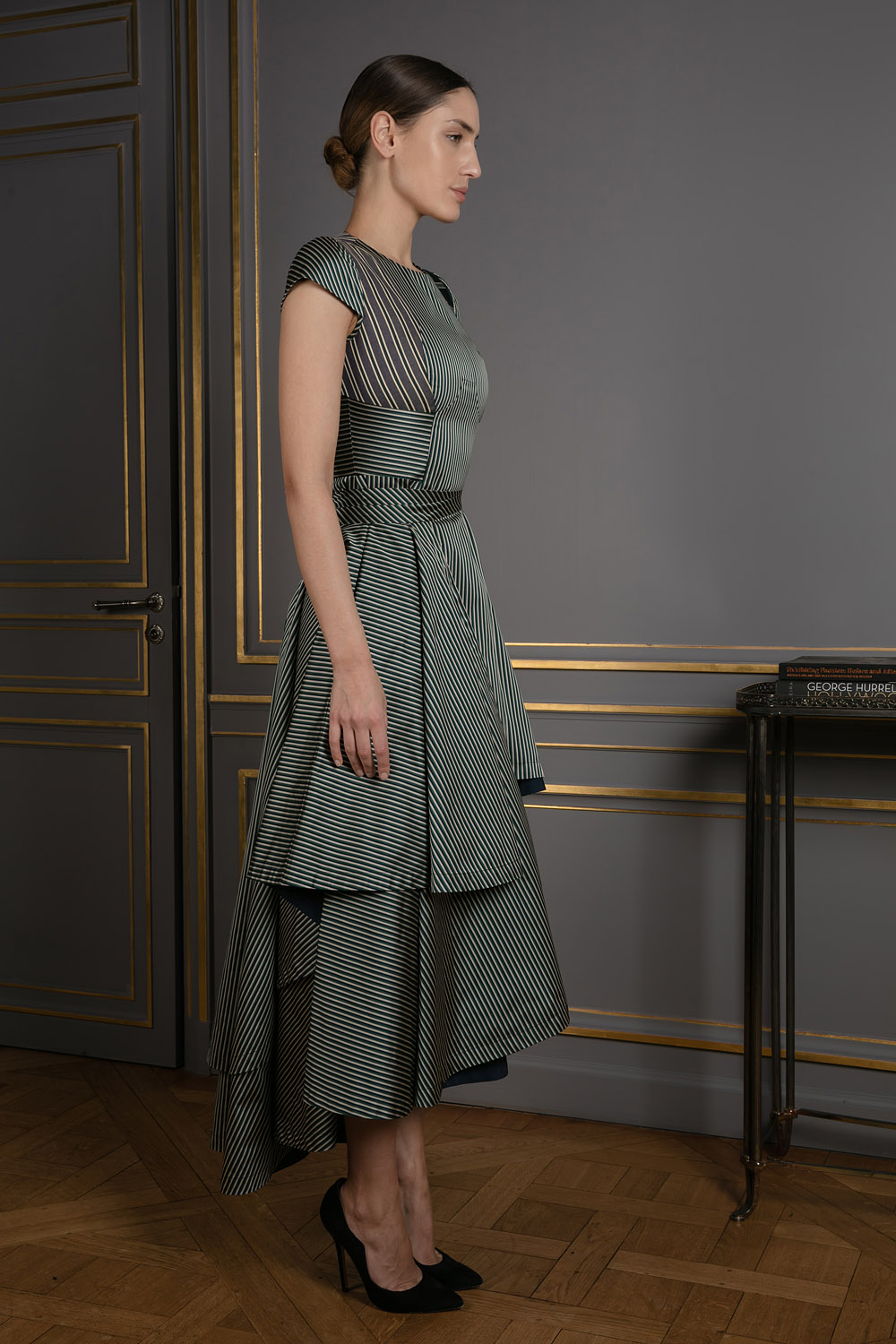 Cotton twill dress with wraparound overskirt