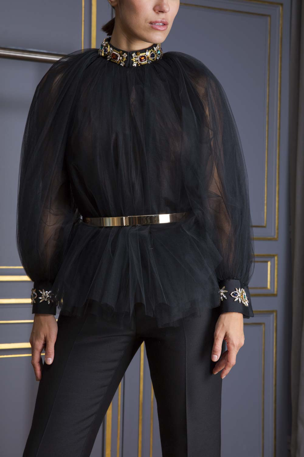 Sheer black tulle blouse with balloon sleeves and jewel-embellished collar and cuffs