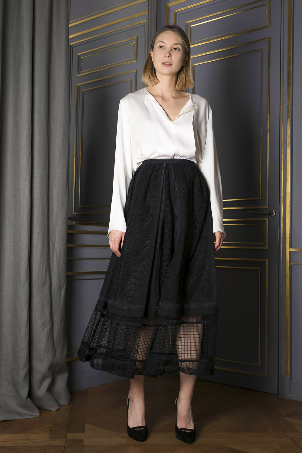 Ankle length A-line skirt with a sheer bottom